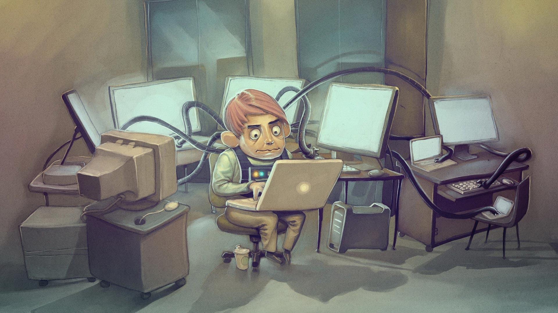 Persona conectada a muchos ordenadores y muchas web