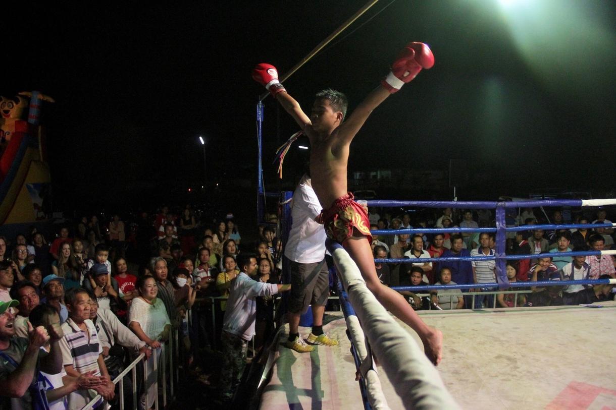 peleador subido a las cuerdas celebrando su victoria.